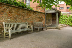 Benches in backyard Royalty Free Stock Photos