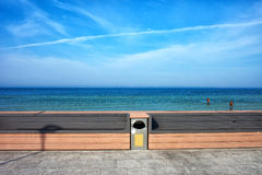 Benches at Baltic Sea Waterfront in Poland Royalty Free Stock Images