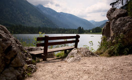 Benches in the bavarian alps Stock Images