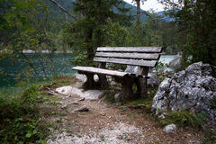 Benches in the bavarian alps Stock Photos