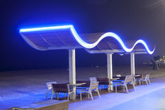 Benches at the beach in Dubai Royalty Free Stock Photography