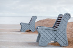 Benches. On the beach in Russia Royalty Free Stock Image