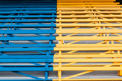 Benches Blue Yellow Public Seating Royalty Free Stock Images