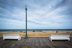 Benches on the boardwalk in Rehoboth Beach, Delaware. Stock Images