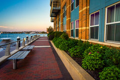 Benches and the Boston Inner Harbor at Battery Wharf Stock Photos