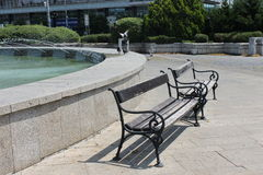 Benches on Bratislava old town Stock Images