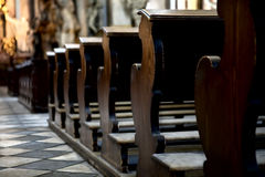 Benches in the cathedral Royalty Free Stock Images