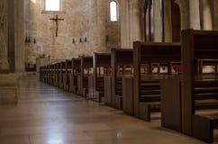 Benches of a catolic italian church Royalty Free Stock Photography