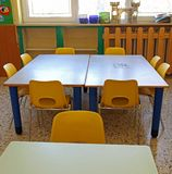Benches and chairs of a kindergarten Stock Photography