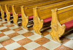 Benches in church Stock Image