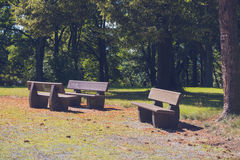 Benches in the city park Stock Photography