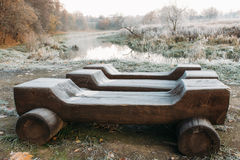 Benches in the city park Royalty Free Stock Photography