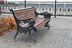 Benches on a city street Royalty Free Stock Photo