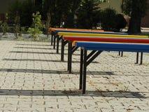 Benches, colors, park, city, entertainment. Benches, colors, park city entertainment shadows sunny Stock Photo