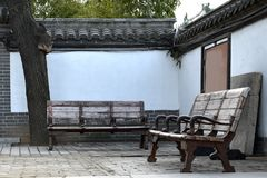 Benches in the courtyard. Royalty Free Stock Photos