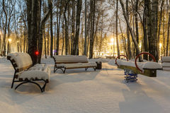Benches covered snow Stock Image