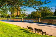 Benches at Druid Hill Park in Baltimore, Maryland. Royalty Free Stock Photo