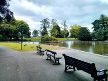 Benches , ducks , lake, South Park , Darlington royalty free stock images