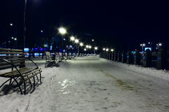 Benches and embankment. Benches on embankment at night Stock Images