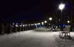 Benches and embankment. Benches on embankment at night royalty free stock images