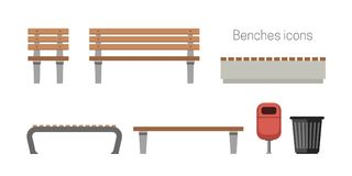 Benches flat icons Royalty Free Stock Photo