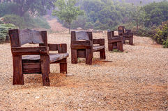 Benches in the fog Stock Photography