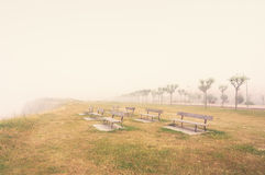 Benches on a foggy cliff Royalty Free Stock Photo