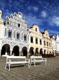 Benches in front of baroque houses Royalty Free Stock Images