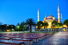 Benches in front of Mosque of Sultan Ahmet (Blue Mosque) Royalty Free Stock Photo