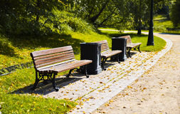 Benches with garbage urns Stock Photo