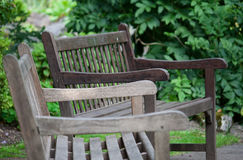 Benches in garden Stock Photo