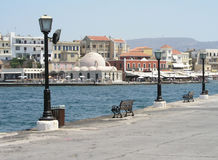 Benches at the Harbor. View of benches at the harbor at Chania, Greece Royalty Free Stock Images