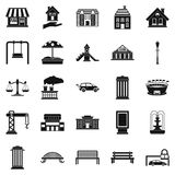 Benches icons set, simple style Stock Image