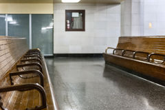 Benches inside the old Transbay Terminal Royalty Free Stock Image