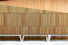 Benches inside the Oslo Opera House, Norway Stock Photography