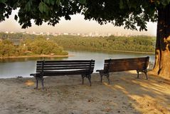 Benches on Kalemegdan Fortress Stock Photography