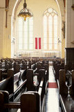 Benches in Lutheran church Royalty Free Stock Images