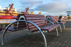 Benches made of metal and wood Royalty Free Stock Photos