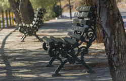 Benches made of wooden planks on metal legs with forged curls st Royalty Free Stock Photos
