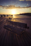 Benches on the new Hastings pier at sunset Royalty Free Stock Photography