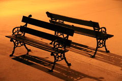 Benches in the night Royalty Free Stock Image