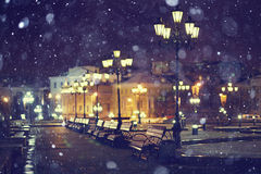 Benches night city lantern moscow Royalty Free Stock Photos
