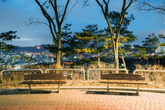 Benches at night. Benches in Naksan park at night time royalty free stock photos
