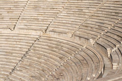 Benches of Odeon Herodes Atticus. In Athens, Greece Stock Image