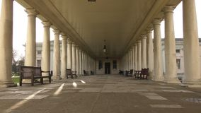 Benches in the old columns. stock footage