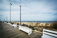 Free Benches On The Boardwalk In Rehoboth Beach, Delaware. Royalty Free Stock Photography - 69271707