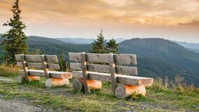 Free Benches On The Feldberg With A View Over Hazy Hills. Royalty Free Stock Image - 171774256