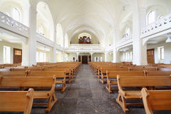 Benches and organ in Evangelical Lutheran Cathedral Stock Images