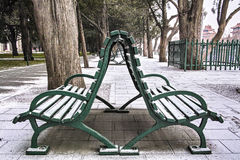Benches in outside Royalty Free Stock Photos