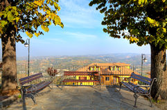 Benches over hills in Piedmont, Italy. Stock Photography